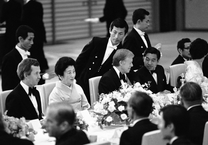 In this June 28, 1979, photo, U.S. President Jimmy Carter talks with Japanese Crown Prince Akihito as Canadian Prime Minister Joe Clark chats with Princess Chichibu at a banquet given by Emperor Hirohito for heads of state attending the economic summit in Tokyo. When he abdicates April 30, 2019, Akihito will become the first emperor in Japan's modern history to see his era end without ever having a war. (AP Photo)