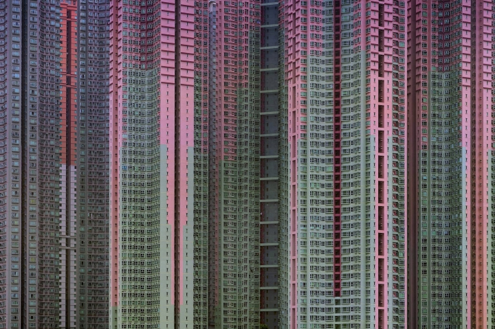 """The 2005 famed photograph titled """"Architecture of Density' #39, showing massive housing by award-winning Hong Kong-based photographer Michael Wolf. Hong Kong art gallery director Sarah Greene said that Wolf, known for his work depicting mega-cities, has died Tuesday night at his home. She said he was 64. Wolf won first prize in the World Press Photo competition in 2005 and 2010. (Blue Lotus Gallery via AP)"""