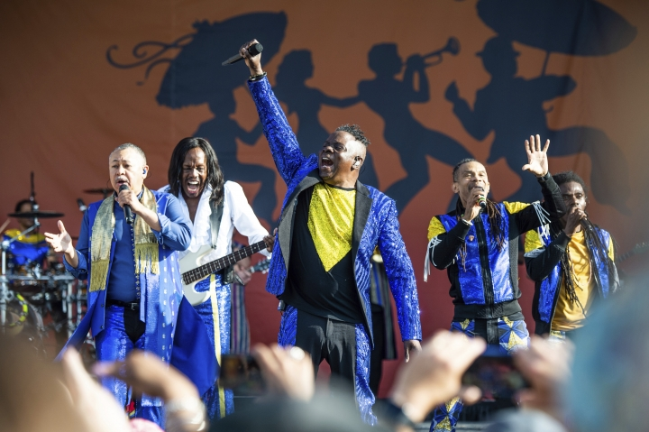 Ralph Johnson, from left, Verdine White, B. David Whitworth, and Philip Bailey of Earth, Wind & Fire perform at the New Orleans Jazz and Heritage Festival on Thursday, April 25, 2019, in New Orleans. (Photo by Amy Harris/Invision/AP)