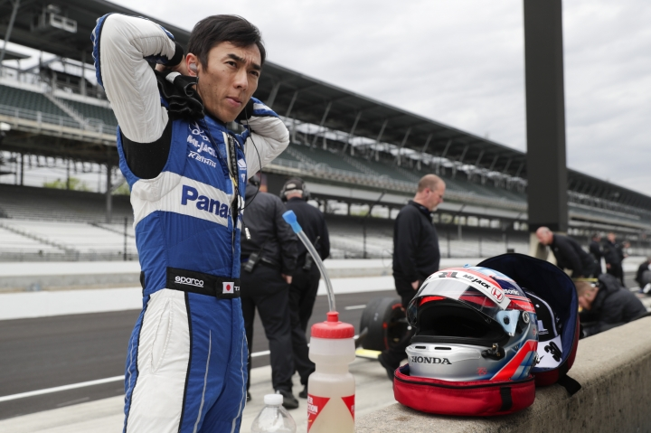 IndyCar driver Takuma Sato, of Japan, prepares to drive during auto racing testing at the Indianapolis Motor Speedway in Indianapolis, Wednesday, April 24, 2019. (AP Photo/Michael Conroy)