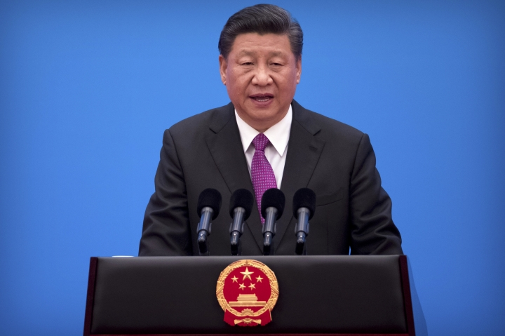Chinese President Xi Jinping speaks during a press conference at the closing of the Belt and Road Forum at Yanqi Lake on the outskirts of Beijing, Saturday, April 27, 2019. Xi called Saturday for more countries to join China's sprawling infrastructure-building initiative in the face of U.S. opposition to a project Washington worries is increasing Beijing's strategic influence. (AP Photo/Mark Schiefelbein)