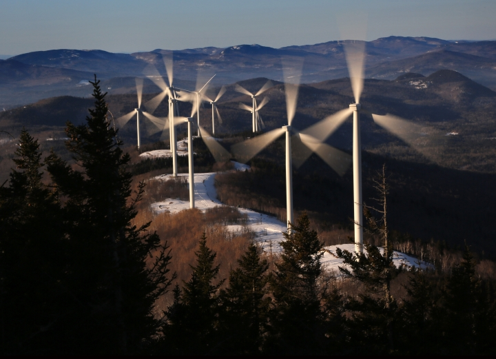 "In this Tuesday, March 19, 2019 photo, the blades of wind turbines catch the breeze at the Saddleback Ridge wind farm in Carthage, Maine. The state's new Democratic Gov. Janet Mills has taken to show she would be more supported of green energy than former Republican Gov. Paul LePage, who lambasted wind power as a ""boutique"" source, fought subsidies for solar power and pulled the state out of a much-touted off-shore wind project. (AP Photo/Robert F. Bukaty)"