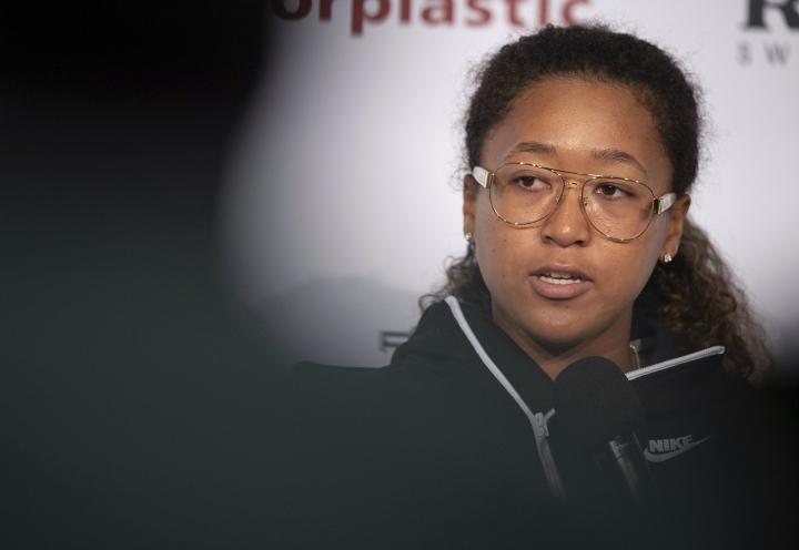 Japan's Naomi Osaka speaks during a press conference at the WTA-Tour Porsche Tennis Grand Prix in Stuttgart, Germany, Saturday, April 27, 2019. (Marijan Murat/dpa via AP)