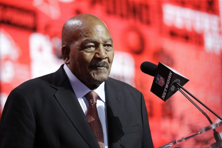 Former NFL football player Jim Brown announces the Cleveland Browns selection of LSU cornerback Greedy Williams during the second round of the NFL football draft, Friday, April 26, 2019, in Nashville, Tenn. (AP Photo/Mark Humphrey)
