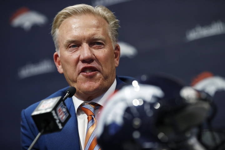 Denver Broncos general manager John Elway talks about the team's first-round selection of Iowa tight end Noah Fant in the NFL Draft Thursday, April 25, 2019, in the team's headquarters in Englewood, Colo. (AP Photo/David Zalubowski)