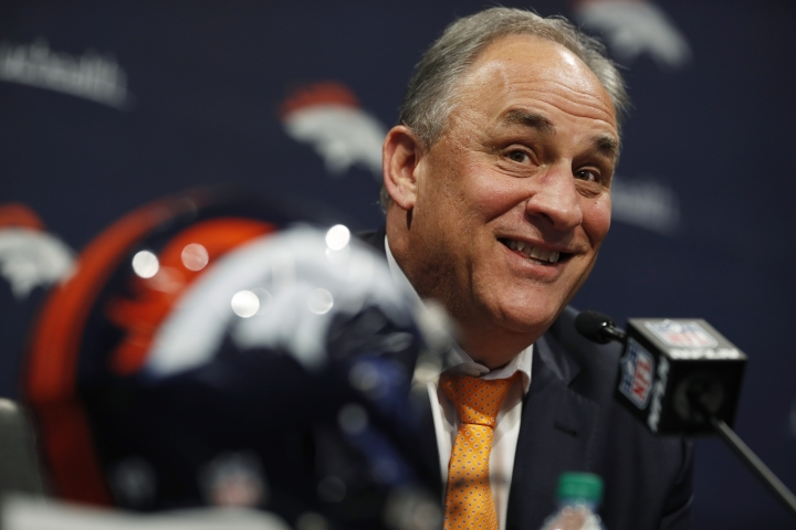 Denver Broncos head coach Vic Fangio talks about the team's first-round selection of Iowa tight end Noah Fant in the NFL Draft Thursday, April 25, 2019, in the team's headquarters in Englewood, Colo. (AP Photo/David Zalubowski)