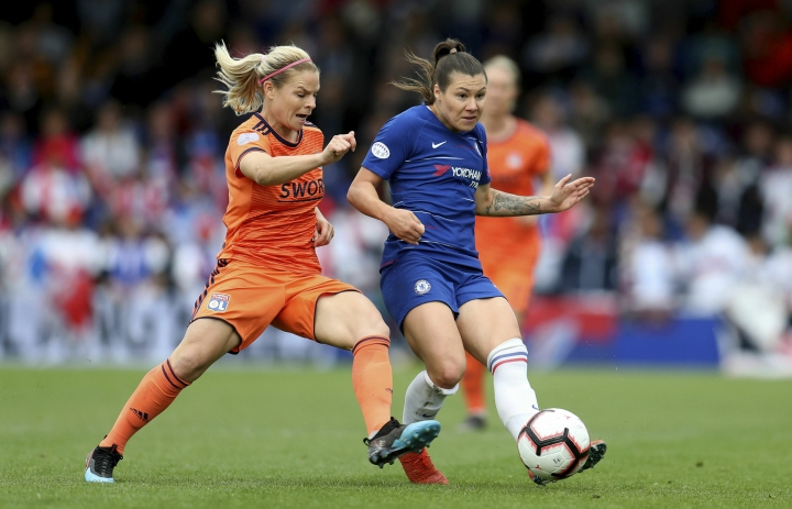 Chelsea's Ramona Bachmann in action during their UEFA Women's Champions League semi final second leg soccer match against Lyon at the Cherry Red Records Stadium, London, Sunday, April 28, 2019. (Bradley Collyer/PA via AP)