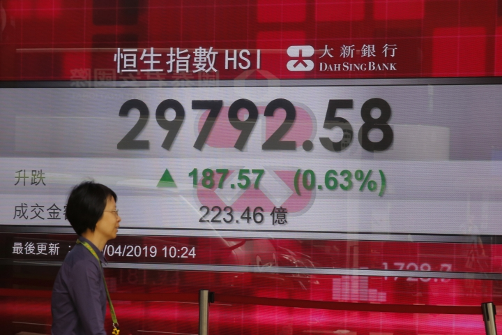 A women walks past an electronic board showing Hong Kong share index outside a bank in Hong Kong, Monday, April 29, 2019. Asian stock markets were mixed Monday as investors looked ahead to U.S.-Chinese trade talks and the Federal Reserve's update on its U.S. interest rate outlook. (AP Photo/Kin Cheung)