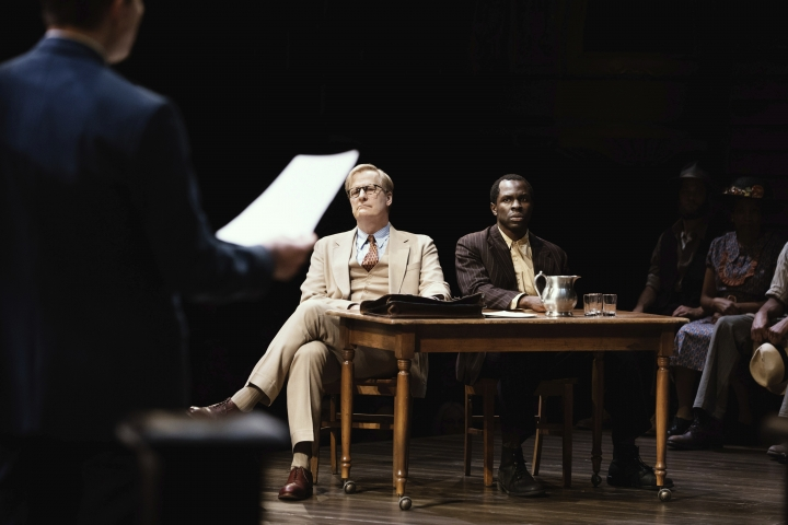 This image released by DKC/O&M shows Jeff Daniels and Gbenga Akinnagbe during a performance of Harper Lee's To Kill A Mockingbird. The Tony Award nominations will be announced Tuesday. (Julieta Cervantes/DKC/O&M via AP)