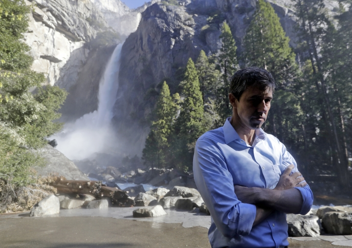 Democratic presidential candidate and former Texas congressman Beto O'Rourke listens to environmental advocates Monday, April 29, 2019, in Yosemite National Park, Calif. (AP Photo/Marcio Jose Sanchez)