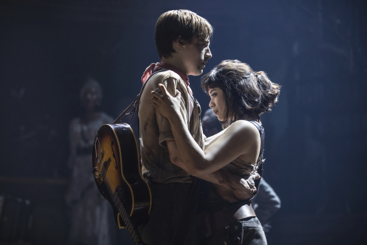 """This image released by DKC O&M Co. shows Reeve Carney, left, and Eva Noblezada during a performance of """"Hadestown,"""" directed by Rachel Chavkin. (Matthew Murphy/DKC O&M Co. via AP)"""