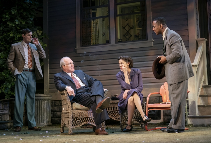 """This image released by Polk & Co. shows, from left, Benjamin Walker, Tracy Letts, Annette Bening and Hampton Fluker during a performance of """"All My Sons."""" The Tony Award nominations will be announced Tuesday. (Matthew Murphy/Polk & Co. via AP)"""