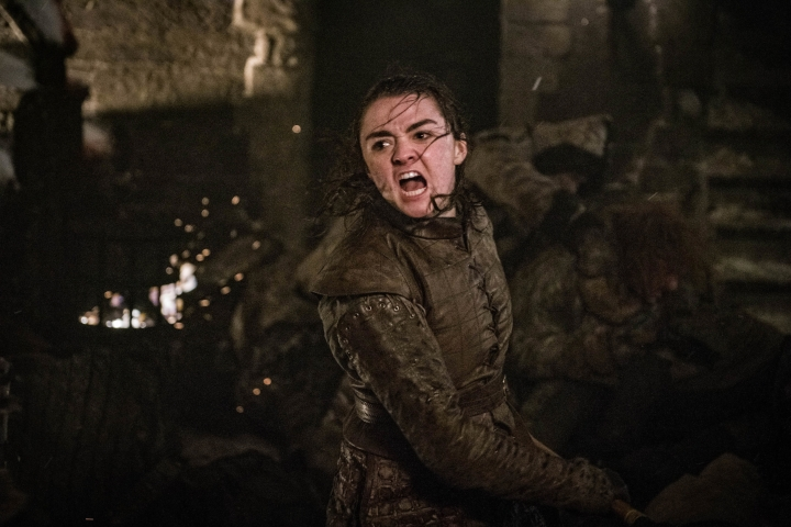 """This image released by HBO shows Maisie Williams in a scene from """"Game of Thrones,"""" that aired Sunday, April 28, 2019. In the Associated Press' weekly """"Wealth of Westeros"""" series, we're following the HBO fantasy show's latest plot twists and analyzing the economic and business forces driving the story. This week, Arya's triumphant assassination of the king ice zombie has prompted an appreciation among us for the role of skills, in economics as well as medieval Westeros. (Helen Sloan/HBO via AP)"""