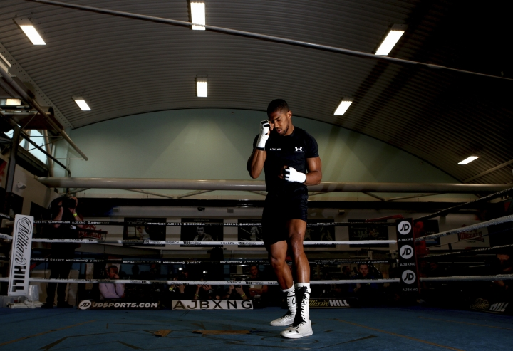 British boxer Anthony Joshua in action, during a media session at the English institute of Sport, in Sheffield, England, Wednesday May 1, 2019. Andy Ruiz Jr. will look to become Mexico's first heavyweight champion after replacing Jarrell Miller as the opponent for unbeaten WBA, IBF and WBO titleholder Anthony Joshua. (Dave Thompson/PA via AP)