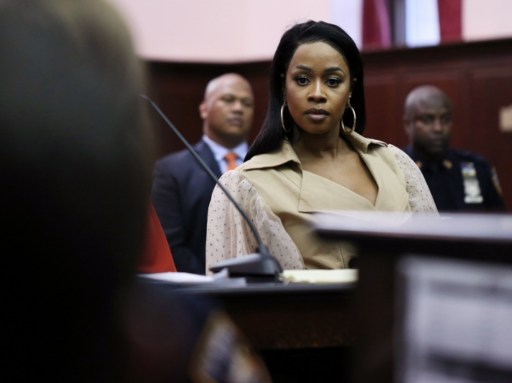 Rapper Remy Ma appears in criminal court during her arraignment on an assault charge, Wednesday, May 1, 2019, in New York. Ma was arrested on assault charges for allegedly attacking a reality television personality in New York City a couple of weeks earlier. (Alec Tabak/Daily News via AP, Pool)
