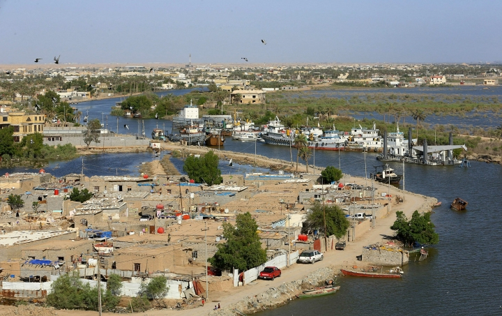This Monday, April 22, 2019, aerial photo shows high levels of water in the Shatt al-Arab waterway near Basra, Iraq. After years of disappointing rains and scorching hot summers, the wettest winter in a generation has revived Iraq's rivers and filled its lakes, bringing welcome relief to a country facing severe water challenges in the climate change era. (AP Photo/Nabil al-Jurani)