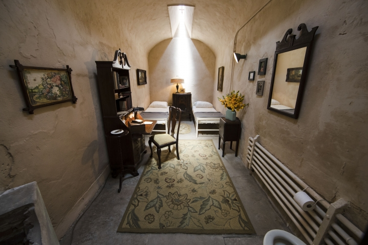 This Thursday, May 2, 2019 photo, shows a recreation of mobster Al Capone's 1929 cell at the Eastern State Penitentiary, which is now a museum in Philadelphia. (AP Photo/Matt Rourke)