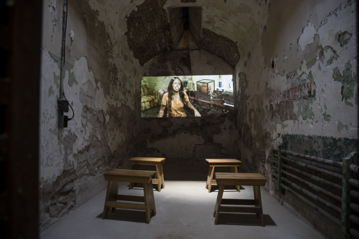 A video installation by filmmaker Dehanza Rogers' titled #BlackGirlhood is shown at the Eastern State Penitentiary, Thursday, May 2, 2019, which is now a museum in Philadelphia,. (AP Photo/Matt Rourke)