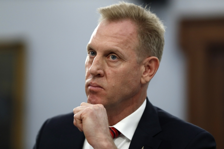 Acting Defense Secretary Patrick Shanahan listens, Wednesday May 1, 2019, during a House Appropriations subcommittee on budget hearing on Capitol Hill in Washington. (AP Photo/Jacquelyn Martin)