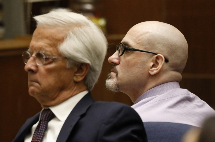 "Michael Gargiulo, right, appears with his defense attorney Daniel Nardoni in Los Angeles Superior Court for opening statements on his trial on murder charges Thursday, May 2, 2019, in Los Angeles. Gargiulo is accused of killing two women and trying to kill one in sex ""thrill-kill"" attacks between 2001 and 2008. (Al Seib via AP, Pool)"