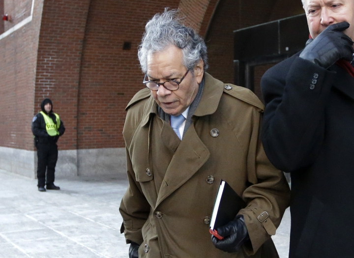 FILE - In this Jan. 30, 2019, file photo, Insys Therapeutics founder John Kapoor leaves federal court in Boston. On Thursday, May 2, 2019, Kapoor was found guilty in a scheme to bribe doctors to boost sales of a highly addictive fentanyl spray meant for cancer patients with severe pain. (AP Photo/Steven Senne, File)