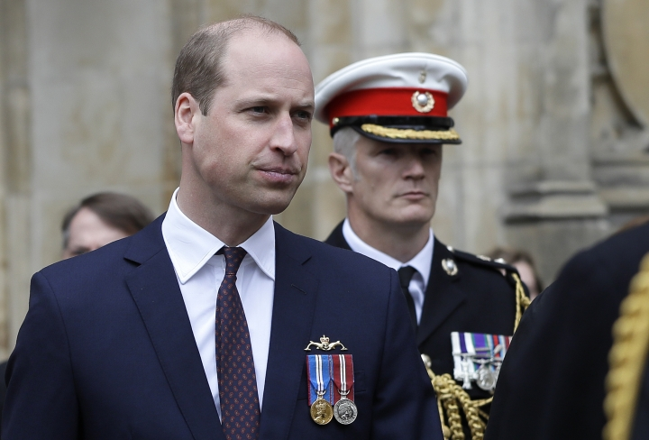 Britain's Prince William, Duke of Cambridge, left, leaves after attending a service to recognise fifty years of continuous deterrent at sea, at Westminster Abbey in London, Friday, May 3, 2019. Royalty, politicians and military chiefs are gathering at Westminster Abbey to mark half a century of Britain's sea-borne nuclear arms program _ though organizers insist they are not thanking God for atomic weapons. (AP Photo/Kirsty Wigglesworth, Pool)
