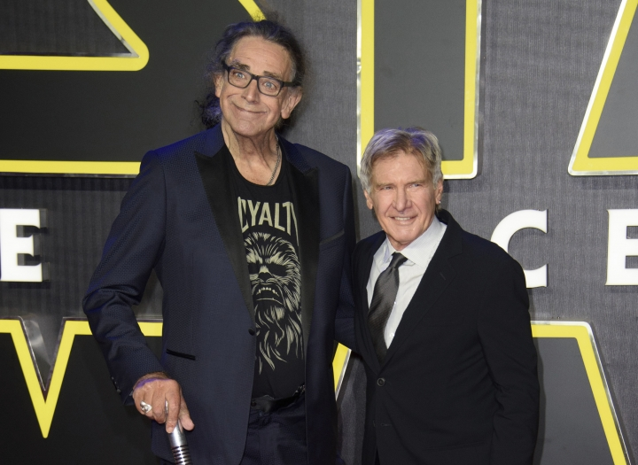 "RETRANSMISSION TO CORRECT DAY AND DATE OF DEATH - FILE - This Dec. 16, 2015 file photo shows Peter Mayhew, left, and Harrison Ford at the European premiere of the film 'Star Wars: The Force Awakens ' in London. Mayhew, who played the rugged, beloved and furry Wookiee Chewbacca in the ""Star Wars"" films, has died. Mayhew died at his home in north Texas on Tuesday, April 30, 2019 according to a family statement. He was 74. No cause was given. (Photo by Jonathan Short/Invision/AP, File)"