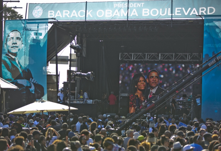"Thousands of people attend a concert and ceremony unveiling Obama Boulevard with Los Angeles City officials on Saturday, May 4, 2019, in Los Angeles. The Obama Boulevard will replace Rodeo Road, a 3 ½-mile street that runs across the city's historic black neighborhood. It will also intersect with Martin Luther King Jr. Boulevard and further establish a ""presidential row"" that includes Washington, Adams and Jefferson boulevards. (AP Photo/Damian Dovarganes)"
