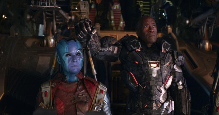 "This image released by Disney shows Karen Gillan, left, and Don Cheadle in a scene from ""Avengers: Endgame."" (Disney/Marvel Studios via AP)"