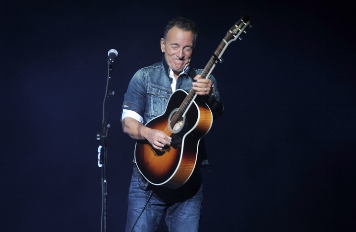 "FILE - In this Monday, Nov. 5, 2018, file photo, Bruce Springsteen performs at the 12th annual Stand Up For Heroes benefit concert at the Hulu Theater at Madison Square Garden in New York. Springsteen is kicking off the Emmys campaign for his Netflix film ""Springsteen on Broadway"" with an acoustic performance of ""Dancing in the Dark"" and a deep and wide-ranging chat with filmmaker Martin Scorsese, the two confirmed Sunday, May 5, 2019. (Photo by Brad Barket/Invision/AP, File)"