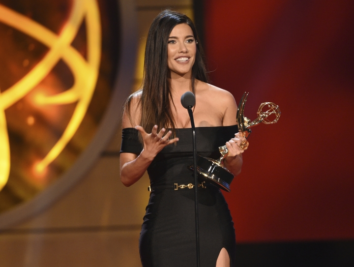 """Jacqueline MacInnes Wood accepts the award for outstanding lead actress in a drama series for """"The Bold and the Beautiful,"""" at the 46th annual Daytime Emmy Awards at the Pasadena Civic Center on Sunday, May 5, 2019, in Pasadena, Calif. (Photo by Chris Pizzello/Invision/AP)"""