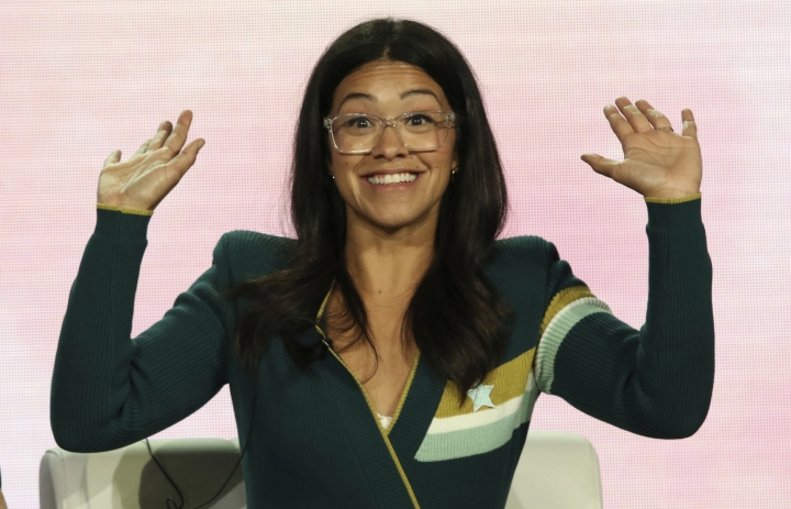 "FILE - In a Thursday, Jan. 31, 2019 file photo, Gina Rodriguez speaks in the A Final Farewell to ""Jane the Virgin"" panel during the CW TCA Winter Press Tour, in Pasadena, Calif. Rodriguez has gotten married. The 34-year-old shared a video on Instagram of the Saturday, May 4, 2019 wedding to Joe LoCicero. (Photo by Willy Sanjuan/Invision/AP, File)"