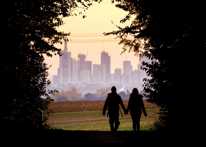 FILE - In this Oct. 21, 2018, file photo, a couple walks through a forest with the Frankfurt skyline in background near Frankfurt, Germany. Development that's led to loss of habitat, climate change, overfishing, pollution and invasive species is causing a biodiversity crisis, scientists say in a new United Nations science report released Monday, May 6, 2019. (AP Photo/Michael Probst, File)