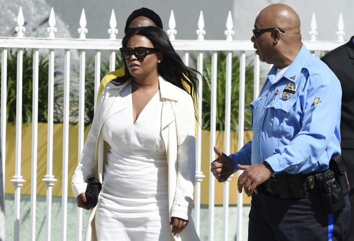 "Actress Nia Long, a cast member in director John Singleton's 1991 debut film ""Boyz n the Hood,"" arrives at a memorial service for Singleton at Angelus Funeral Home, Monday, May 6, 2019, in Los Angeles. Singleton died on April 29 following a stroke. (AP Photo/Chris Pizzello)"