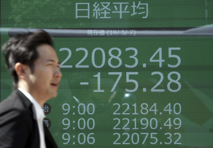 A man walks past an electronic stock board showing Japan's Nikkei 225 index at a securities firm in Tokyo Tuesday, May 7, 2019. Asian stock markets rebounded Tuesday after Beijing said trade negotiators were preparing to go to Washington despite President Donald Trump's threat to escalate their tariff war. (AP Photo/Eugene Hoshiko)