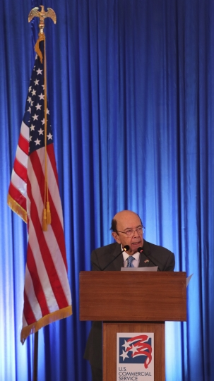 US commerce secretary Wilbur Ross speaks at the 11th Trade Winds Business Forum and Mission hosted by the US Department of Commerce, in New Delhi, India, Tuesday, May 7, 2019. Top executives of more than 100 U.S. companies are visiting India to meet with government leaders, market experts and potential business partners to boost reciprocal trade.(AP Photo/Manish Swarup)