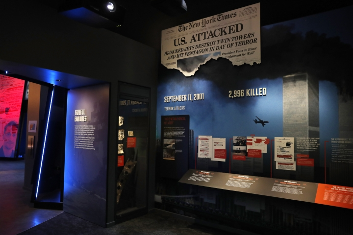 Items from 9/11, including the flight manuals and one boarding pass used by the hijackers of the planes that went into the World Trade Center on 9/11, are among the items on exhibition at the new International Spy Museum, Tuesday April 30, 2019, in Washington. The flights manuals and a hijacker boarding pass are being displayed for the first time and are on loan from the FBI. The expanded museum in its new building will open May 12. (AP Photo/Jacquelyn Martin)