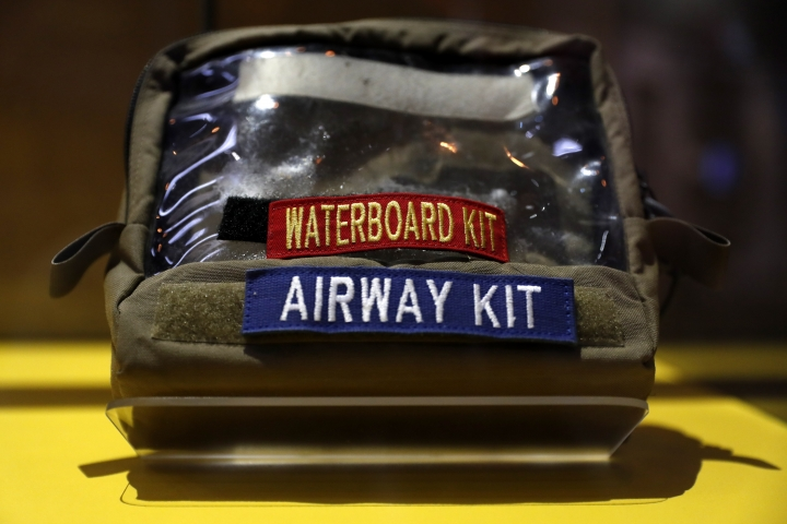 A waterboard kit is part of an exhibit on torture in the new International Spy Museum, Tuesday April 30, 2019, in Washington. The expanded museum in its new building will open May 12. (AP Photo/Jacquelyn Martin)