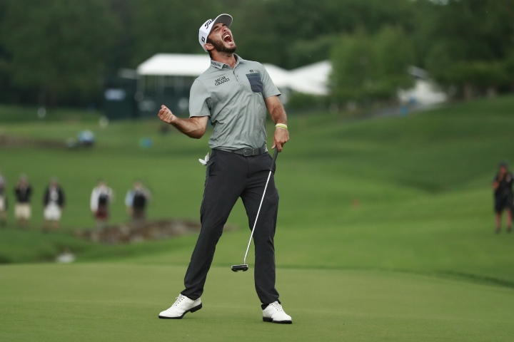Max Homa celebrates after winning the Wells Fargo Championship golf tournament at Quail Hollow Club in Charlotte, N.C., Sunday, May 5, 2019. (AP Photo/Jason E. Miczek)