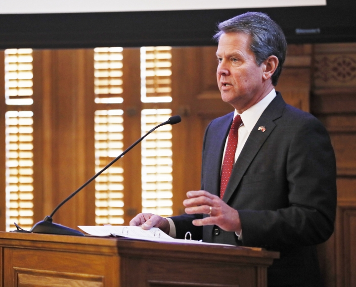 FILE - In this Wednesday, Jan. 23, 2019, file photo, Georgia Gov. Brian Kemp addresses the 2019 Season Joint Budget hearings, in Atlanta. Kemp is set to sign legislation on Tuesday, May 7, 2019, banning abortions at around six weeks of pregnancy, before many women know they're pregnant. (Bob Andres/Atlanta Journal-Constitution via AP, File)