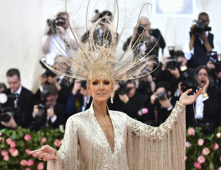 "Celine Dion attends The Metropolitan Museum of Art's Costume Institute benefit gala celebrating the opening of the ""Camp: Notes on Fashion"" exhibition on Monday, May 6, 2019, in New York. (Photo by Charles Sykes/Invision/AP)"