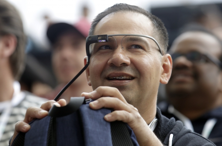 Developer Jesus Suarez wears Google Glass glasses waits for the keynote address of the Google I/O conference in Mountain View, Calif., Tuesday, May 7, 2019. (AP Photo/Jeff Chiu)