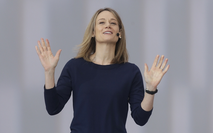 Google's Stephanie Cuthbertson speaks during the keynote address of the Google I/O conference in Mountain View, Calif., Tuesday, May 7, 2019. (AP Photo/Jeff Chiu)