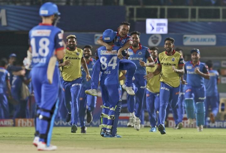 Delhi Capitals' cricketers celebrate after winning the VIVO IPL T20 cricket eliminator match against Sunrisers Hyderabad in Visakhapatnam India, Wednesday, May 8, 2019. (AP Photo/Surjeet Yadav)