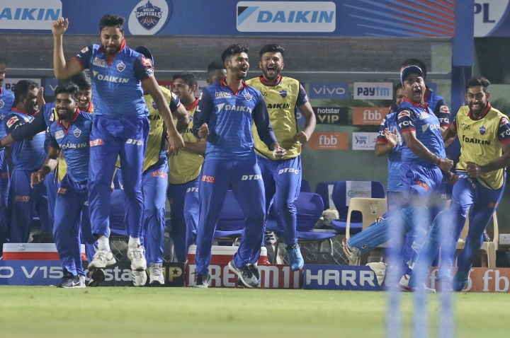 Delhi Capitals' cricketers celebrate after winning the VIVO IPL T20 cricket eliminator match against Sunrisers Hyderabad in Visakhapatnam India, Wednesday, May 8, 2019. (AP Photo/Surjeet Yadav)