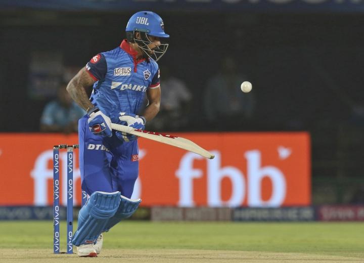 Shikhar Dhawan bats during the VIVO IPL T20 cricket eliminator match between Delhi Capitals and Sunrisers Hyderabad in Visakhapatnam India, Wednesday, May 8, 2019. (AP Photo/Surjeet Yadav)