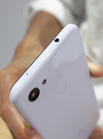 The audio jack is shown on a Google Pixel 3a XL phone at the Google I/O conference in Mountain View, Calif., Tuesday, May 7, 2019. (AP Photo/Jeff Chiu)