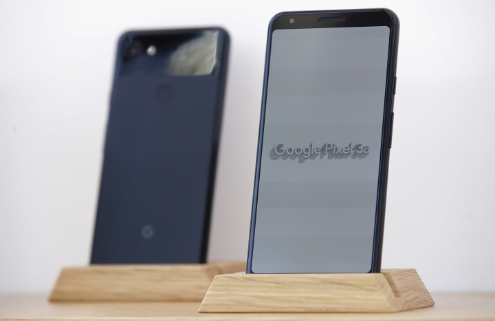 Google Pixel 3a phones are displayed at the Google I/O conference in Mountain View, Calif., Tuesday, May 7, 2019. (AP Photo/Jeff Chiu)