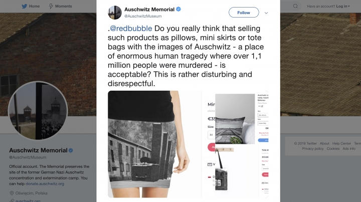 A screen grab made Wednesday May 8, 2019 of the Auschwitz Memorial website where they comment on the sale of Auschwitz related products on the site of an online vendor. Museum authorities at the Auschwitz-Birkenau former Nazi German death camp in Poland have protested to an online vendor that was selling miniskirts, pillows and other items bearing photos of the camp, where some 1.1 million people were killed during World War II. (Photo via AP)
