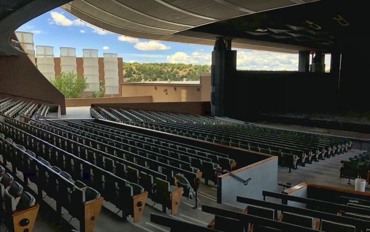 "The Santa Fe Opera awaits its summer season on Wednesday, May 8, 2019, in Santa Fe, N.M. Opera General Director Robert Meya announced they will stage the world premiere in 2020 of the gender-bending story ""M. Butterfly"" from playwright and librettist David Henry Hwang. (AP Photo/Morgan Lee)"